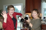Gotta have beverages, and we had plenty!  Carolyn Trout Petteway and Robin Buzzelli Carpenter prepare the Sangria.